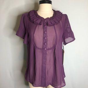 Love Stitch Semi-Sheer  Short Sleeves Blouse Large